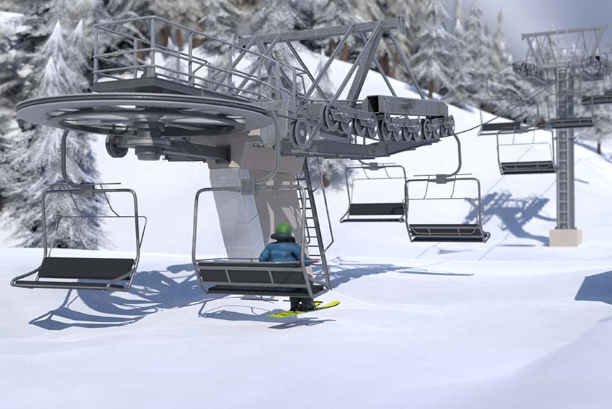 Simulateur de conduite et de maintenance d'un télésiège